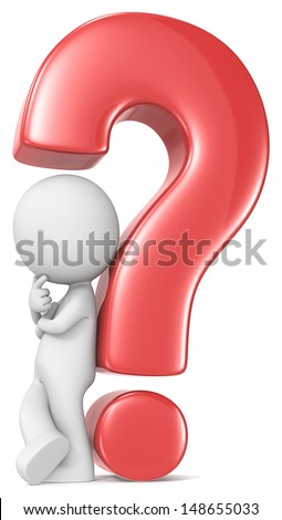 Questions. The Dude leaning against red question mark.  - stock photo