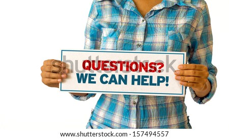Questions, we can help - stock photo