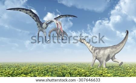 Quetzalcoatlus attacks a Camarasaurus Computer generated 3D illustration - stock photo