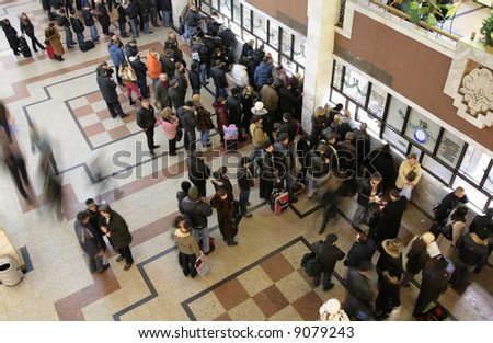 queue in  ticket window top view - stock photo