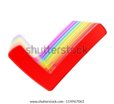 Queue row of colorful rainbow colored yes check ticks isolated on white background - stock photo
