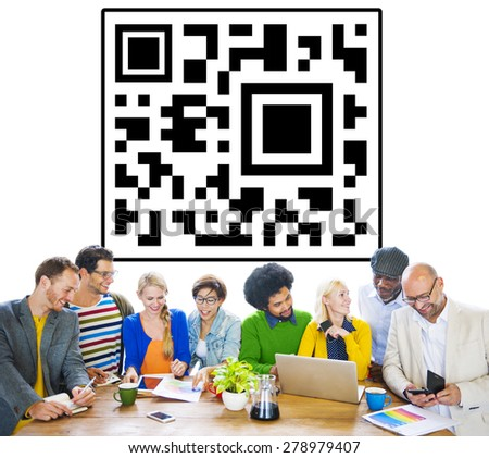 Quick Response Code Internet Technology Scanning Concept - stock photo