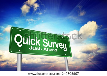 Quick Survey Green Road Sign, Business Concept - stock photo