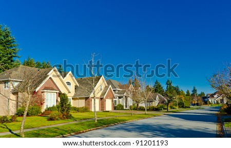 Quiet and comfortable neighborhood. Houses  in surburbs.  Vancouver, Canada - stock photo
