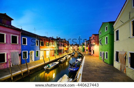 quiet evening among the colored houses and fishing boats Burano. Venice, Italy - stock photo
