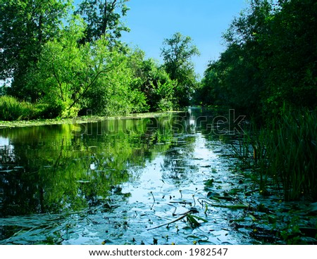 Quiet flow of the river Cam, England. - stock photo
