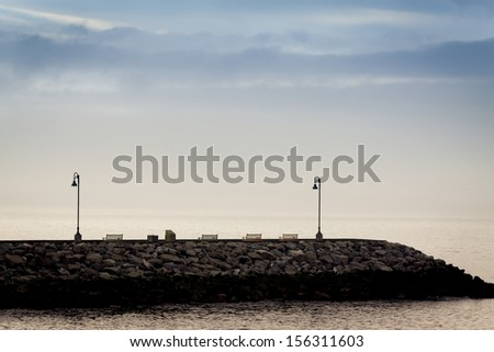 Quiet image of a dock at dawn  in Gaspesie,Canada - stock photo