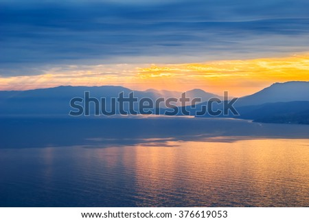 quiet sea bay at the evening - stock photo