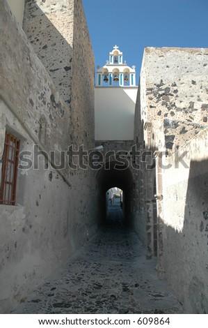 Quiet street in Santorini, Greece - stock photo