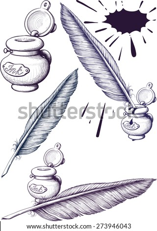 quill pen and inkwell - stock photo