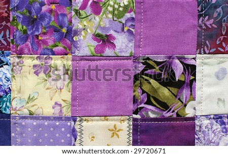 quilt blocks in purple shades - stock photo