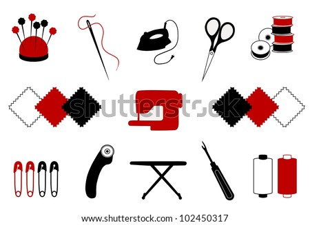 Quilt, Patchwork, Sewing Icons for stitchery, applique, DIY projects: pincushion, needle, thread, embroidery scissors, bobbins, cloth, sewing machine, safety pins, rotary cutter, iron, ironing board. - stock photo