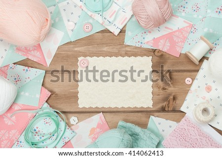 Quilting, Sewing, Knitting And Crochet Accessories. Blank Card. Wooden Table. Copy Space - stock photo