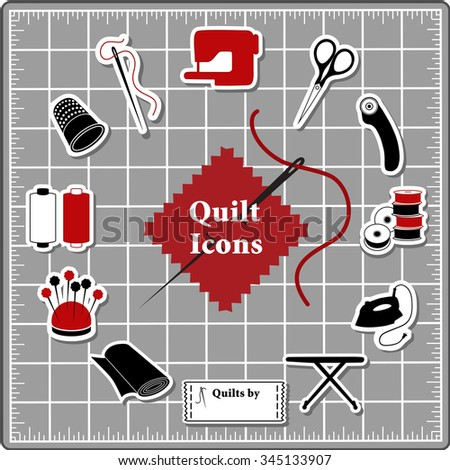 Quilting Stickers for DIY sewing: pins, pincushion, needle, thread, iron, ironing board, scissors, bobbins, cloth, sewing machine, rotary cutter, thimble, label on self healing cutting mat.  - stock photo