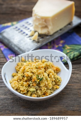 Quinoa, a species of goosefoot, is a grain crop grown primarily for its edible seeds. - stock photo