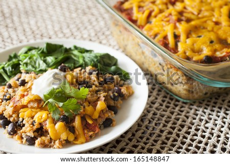 Quinoa Black Bean Casserole, Healthy Casserole - stock photo