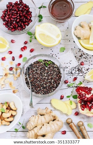 Quinoa salad and honey-lemon dressing ingredients .Healthy eating. Superfood concept. - stock photo