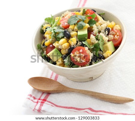 quinoa salad, vegetarian food - stock photo