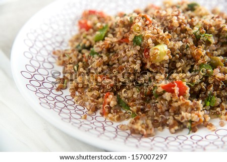 Quinoa Salad with Red Peppers and Herbs - stock photo