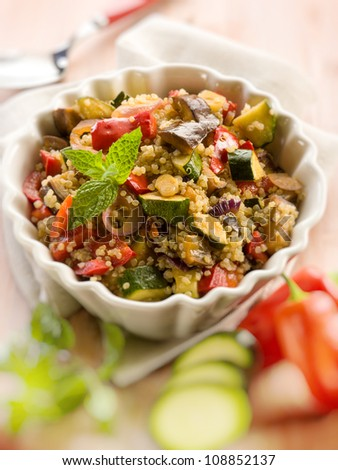 quinoa salad with vegetables,selective focus - stock photo