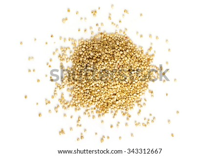 Quinoa seeds from above isolated on white background - stock photo
