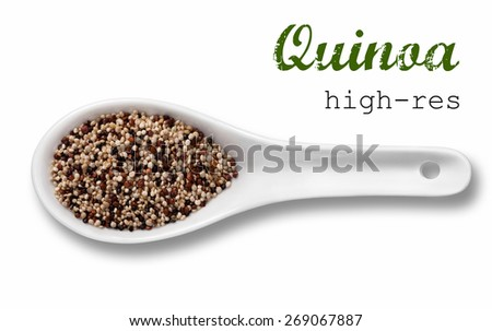 Quinoa seeds in a wooden spoon / high resolution product photography of seed in white porcelain spoon over white background with place for your text - stock photo