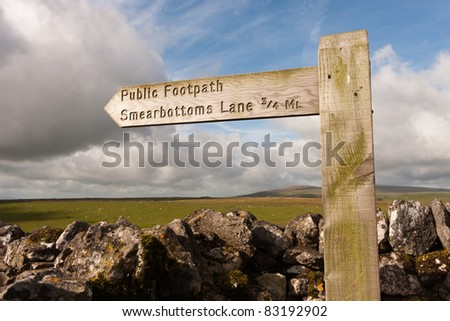 Quirky public footpath sign to Smearbottoms Lane, Yorkshire Dales - stock photo