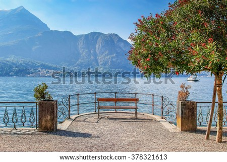 Quite place to overview Como lake, Bellagio, Italy. - stock photo