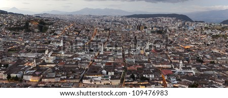 QUITO, CAPITAL OF ECUADOR, PANORAMA AS SEEN FROM PANECILLO STATUE   - stock photo
