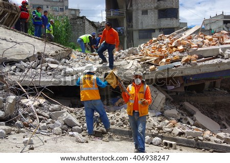 Quito, Ecuador - April,17, 2016: House destroyed by Earthquake with rescuers and heavy machinery in the south part of the city - stock photo