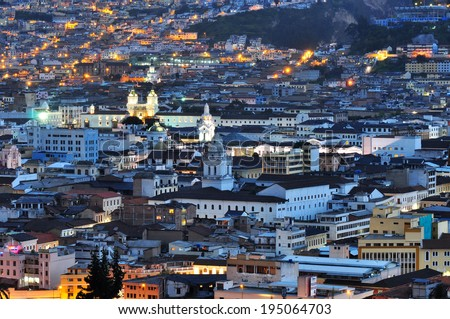 Quito Ecuador downtown view from park - stock photo