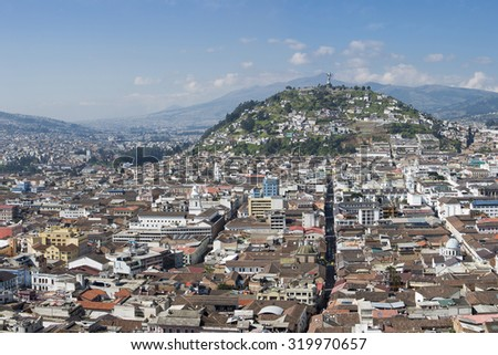 QUITO, ECUADOR, FEBRUARY 24: Large panorama of the capital of Quito during the day with the Panecillo and the old colonial section of the city.Ecuador 2015 - stock photo