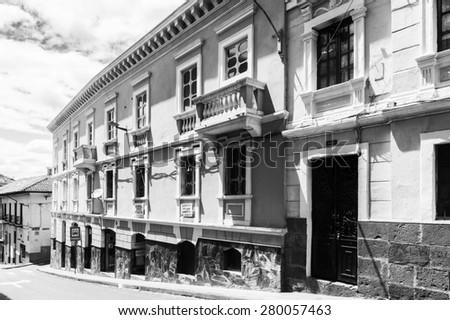 QUITO, ECUADOR - JAN 1, 2015: Architecture in Quito, Ecuador. Quito is the capitalof Ecuador, and  the highest capital city in the world (2800m). - stock photo