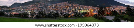 Quito Ecuador Panorama view from park - stock photo