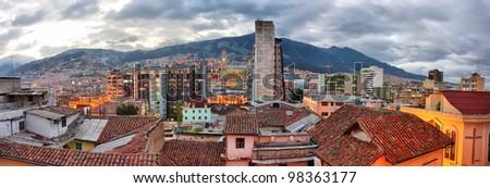 Quito evening view, Ecuador. - stock photo
