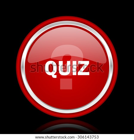 quiz red glossy web icon chrome design on black background with reflection  - stock photo