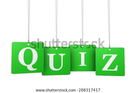 Quiz word and sign on green hanged label tags isolated on white background. - stock photo