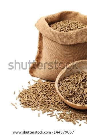 rabbit feed on white background - stock photo