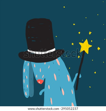 Rabbit in Black Hat Doing Tricks with Magic Wand. Colorful dark magical illustration for kids greeting card or holiday invitation. Raster variant. - stock photo
