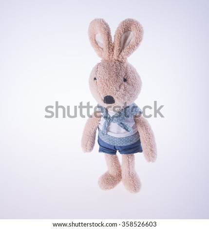 rabbit or bunny toy on a background - stock photo