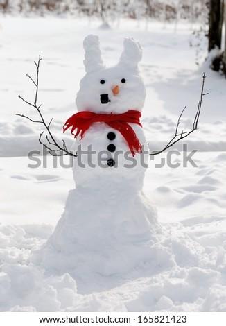 Rabbit snowman - stock photo