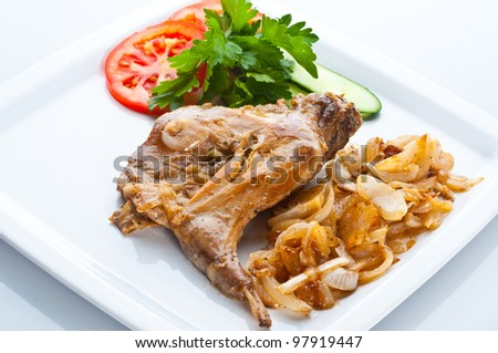 Rabbit with a garnish - stock photo
