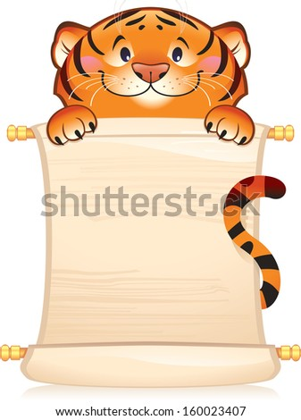 Rabbit with scroll. Symbol of Chinese horoscope. Illustration with a copy space.  - stock photo