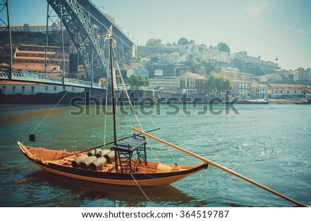 Rabelo boat, traditional port wine transport on Douro river. - stock photo