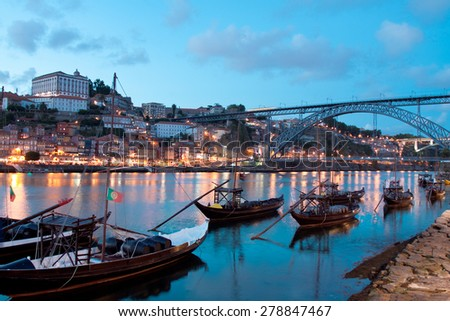 Rabelo boats in Porto, Portugal - stock photo