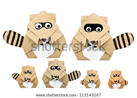 raccoon origami recycle paper - stock photo
