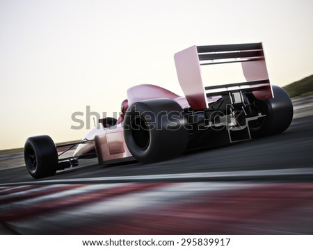 Race car back view speeding down a track with motion blur. Photo realistic 3d scene with room for text or copy space - stock photo