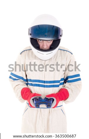 race car driver isolated in white background - stock photo