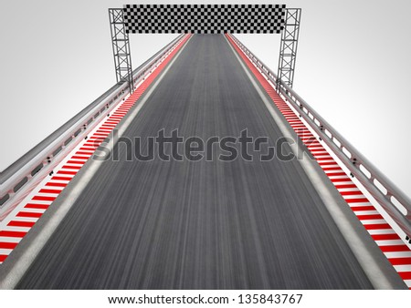 race circuit finish line top perspective illustration - stock photo