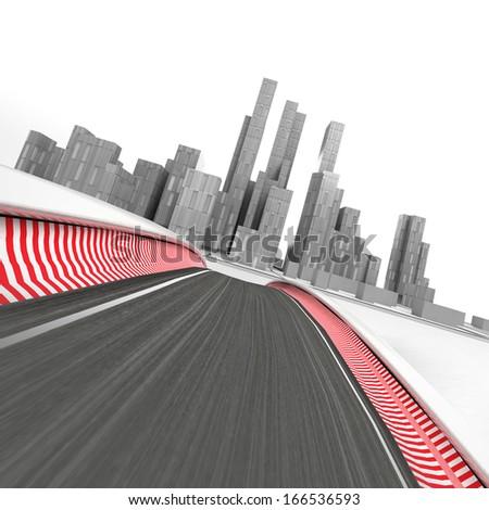 race circuit leading to modern skyscraper city on white render illustration - stock photo